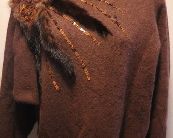 Vintage Brown Fur Sequin Accented Sweater