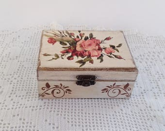 Wooden Jewelry  Box Handmade Decoupage Storage Box With Red And Pink Roses For Home Decor