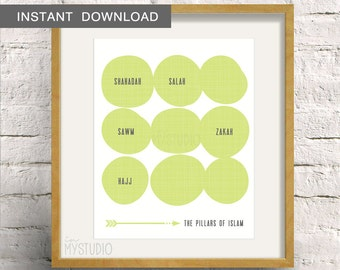 Instant Download! Pillars of Islam. Scandinavian Rustic Design in Lime. Digital Download DIY