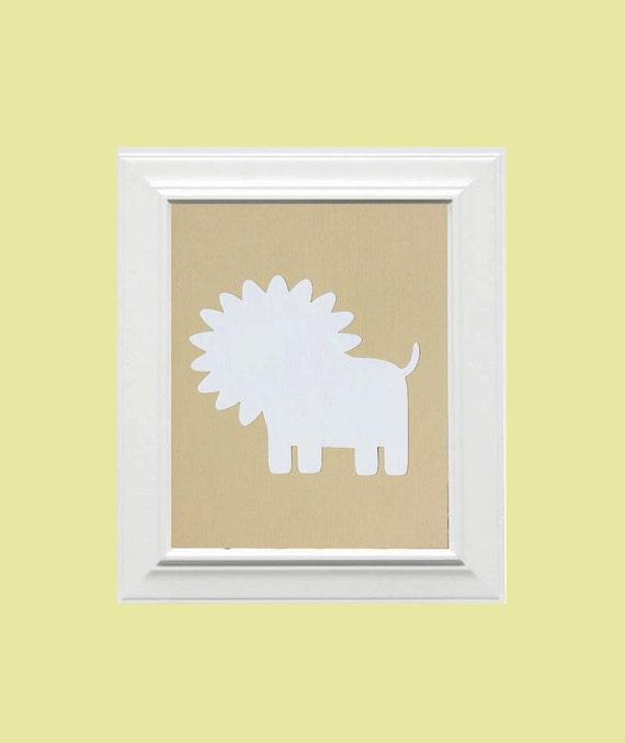 Custom Personalized Lion Picture, Children's Wall Art, Kid's Wall Art, Nursery Wall Art, Lion Wall Art-Beige, White