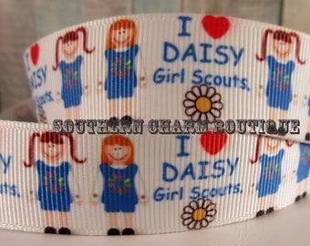 "3 yards 7/8"" Daisy Scout grosgrain ribbon"