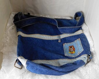 "Bijoux International Denim Cross Body Messenger Bag - Vintage 1980 - 15"" x 14"" x 5"" with hook on bottom to convert to slouch bag"