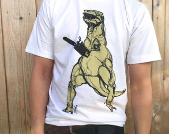 T-Rex with Chainsaw Tshirt