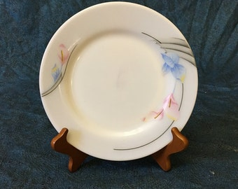 Vintage Pearl Stone Pink Calla Lily Milk Glass Luncheon Plate from Woo Jin