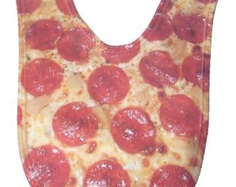 Pepperoni Pizza Infant Bib - Hand Printed in USA - Unique Bib | Funky Bibs | Pizza Gift | Crazy Gift Baby Bib | Infants, Boys, Girls, Baby