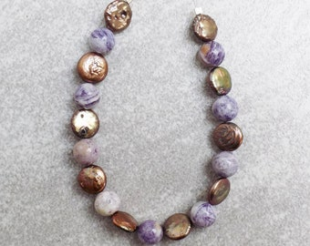 Charoite and copper freshwater coin beads