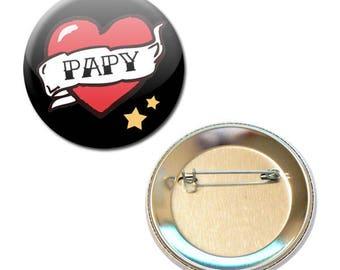 Badge 56 mm - Grandpa heart family Grandpa parent child gift