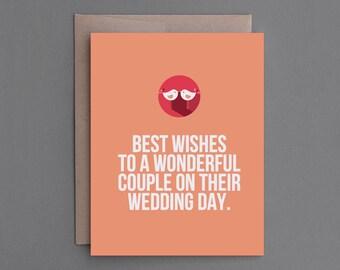 "Funny Wedding Card. Humor, Humorous, Sarcastic. For Bride, Groom, Couple. Wedding, Marriage Congratulations, Congrats. ""Lonely"" (CSW02)"