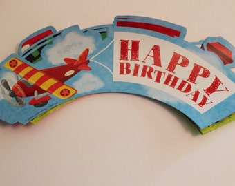 Trains, Planes, sail boats -Happy Birthday Cupcake wrappers