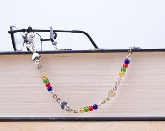 Rainbow glasses chain - heart link and rainbow beads eyeglass lanyard | Colourful eyewear neck cord | Sunglasses chain | Eyeglasses holder