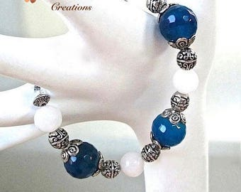 Blue & White Gemstone Bracelet, Antiqued Silver, Sapphire Cobalt Royal Blue Agate Stones, Snow Quartz, One of a Kind Gift for Woman B245