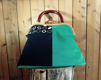 Turquoise and black cotton velvet fabric handbag