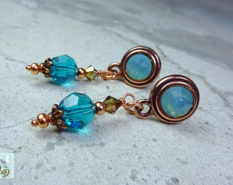 Lovely Copper & Swarovski Crystal Drop Post Earrings. Pacific Opalite  and Zircon Blue Swarovski Crystal Dangle Earrings.