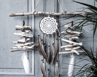 Wall hanging with driftwood, sun dreamcatcher, dreamcatcher, white and brown, cruelty free feathers