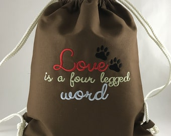 Four Legged Love Drawstring Bags / Dog Drawstring Bags / Drawstring Bags