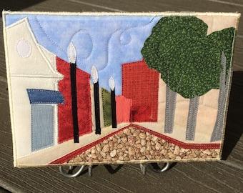 Asheville NC -  Contemporary Art - Small Quilt - Fabric Art - Landscape Art - Mountain Landscape - Vacation Memories - Fabric Postcard