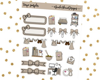 Taupe Sampler, Bow Planner Stickers