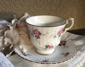 Princess House Windsor Rose Cup Saucer Vintage Hammersley Teacup Fine Bone China England Pink Roses Ribbed & Gold Rimmed ~ #F2055