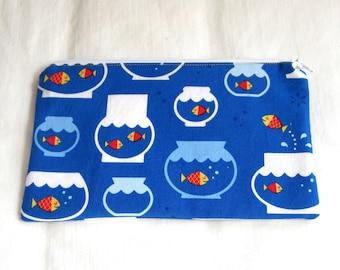 Goldfish in Bowls Fabric Zipper Pouch / Make Up Bag / Pencil Case / Gadget Sack