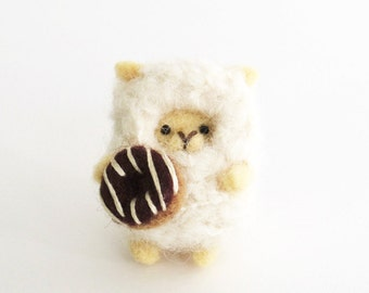 Needle felted lamb brooch, miniature felt sheep with a donut, animal pin, small Christmas gift