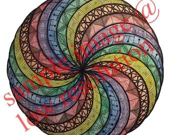 Colored Pencil Line Art Drawing, Zentangle, Digital Download