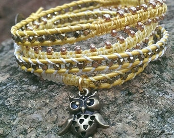 Beaded wrap bracelet - Sunshine
