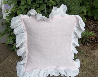 Pink Ruffled Pillow Ruffled Linen Pillow Shams Custom Sizes Colors Decorative Pillow Nursery Decor