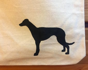 Greyhound Canvas Tote Bag with Black and White Cotton Chevron Lining