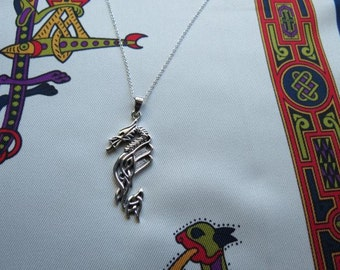 Sterling Silver Celtic Dragon Pendant on Sterling Silver Chain.