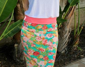 SALE Multicolor Floral Print Ponte Pencil Skirt