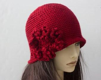 Flower Cloche,  Custom Hat, Choose Color, Flapper Hat,  Hand Crocheted 1920s Style Cloche Hat, Vegan Hat, Winter Accessory