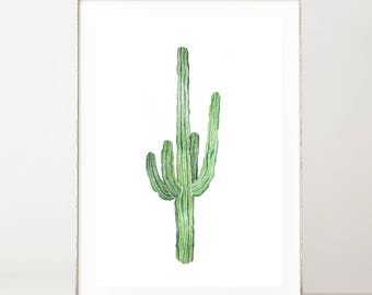 Cactus Print Watercolor Print Botanical Print Boho Wall Decor Cactus Decor Cactus Wall Art Desert Prints Green Plants Botanical Poster