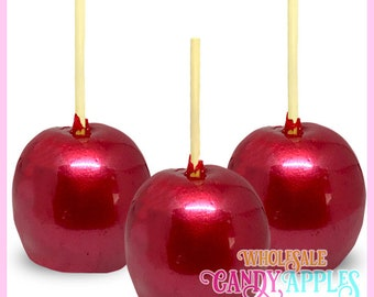 Red Pearlized Mini Hard Candy Apples- 1 dozen