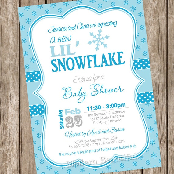 Items Similar To Little Snowflake Baby Shower Invitation, Winter Baby  Shower Invitation, Holiday Baby Shower Invitation, Snowflakes, Printable,  ...