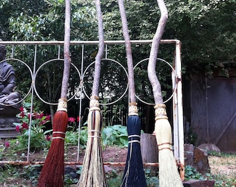 Wedding Besom, Jumping Broom in your choice of Natural, Black, Rust or Mixed Broomcorn - Broom Jumping & Hand fasting Broom