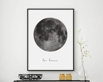 La Lune Print, Moon Print, Moon Poster, La Lune Wall Art, La Lune, Moon Art, Moon Wall Art Print, Moon Printable, Scandinavian Print