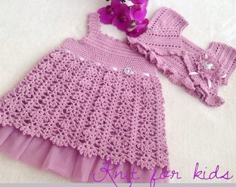 Vintage baby dress / vintage girls set / Crochet baby dress with bolero / Crochet baby set / Baby girls dress and bolero