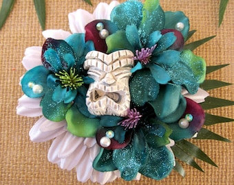 Tiki Flower, Tropical Hair Flower,Odd Rodney Tiki Hair Clip, Tiki Oasis Hair Clip, Tropical Flower-Dark Teal Tiki Clip