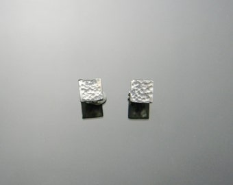 Square Stud Earrings, Sterling Silver, Hammered Stud Earrings, Square Studs, Sterling Silver Studs