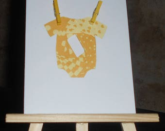 Birth card - linen and yellow baby in iris folding clips