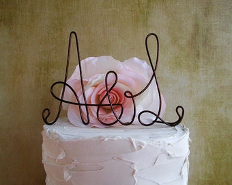 Initials Wedding Cake Topper, Rustic Wedding Cake Topper, Rustic Centerpiece, Anniversary Decoration, Bridal Shower Cake Topper, Engagement