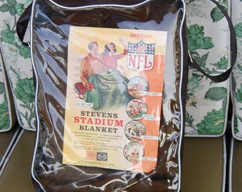 50s NFL Stadium Blanket NOS Vintage Original Stevens Unused Football College Retro