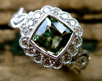 Vine Ring with Green Sapphire Engagement and Diamonds in 14K White Gold with Flower Blossoms & Leafs Size 6