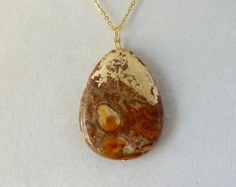 Gold Leaf Stone Pendant - Agave Jasper