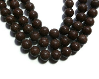 Brown Mountain Jade - 10mm Round Bead - Full Strand - 40 beads - Dark Brown - Chocolate Coffee - Mashan jade - root beer