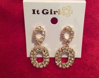 Crystal earrings pierced 80s bling clear rhinestones Goldtone