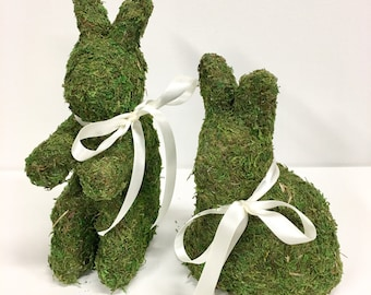 Moss Covered Easter  Bunnies Set of Two