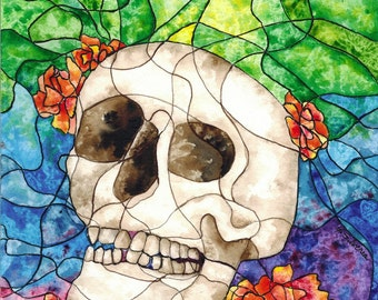 Stained Glass Calavera Giclee