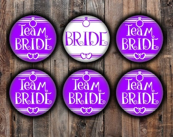 Purple Bride and Team Bride pins, 2.25 inch, for bachelorette, shower, wedding