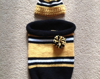Sporty Baby Cocoon and Hat - two loom knit patterns
